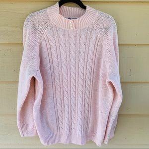 Soft Pink Sweater 2X Cable Knit Jaren Scott Woman